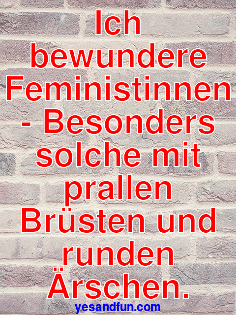 Ich bewundere Feministinnen - Besonders solche mit prallen Brüsten und runden Ärschen.