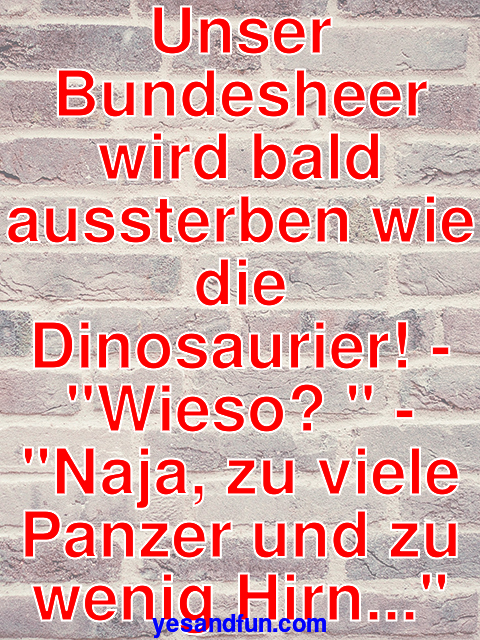 Unser Bundesheer wird bald aussterben wie die Dinosaurier! - Wieso?  - Naja, zu viele Panzer und zu wenig Hirn...