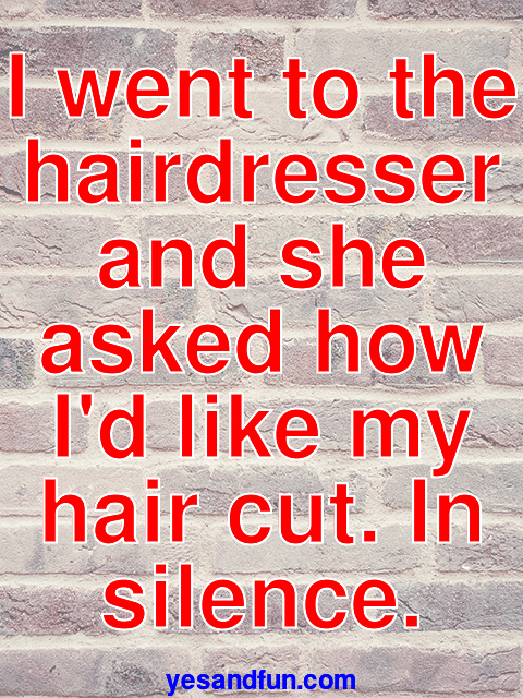 I went to the hairdresser and she asked how Id like my hair cut. In silence.