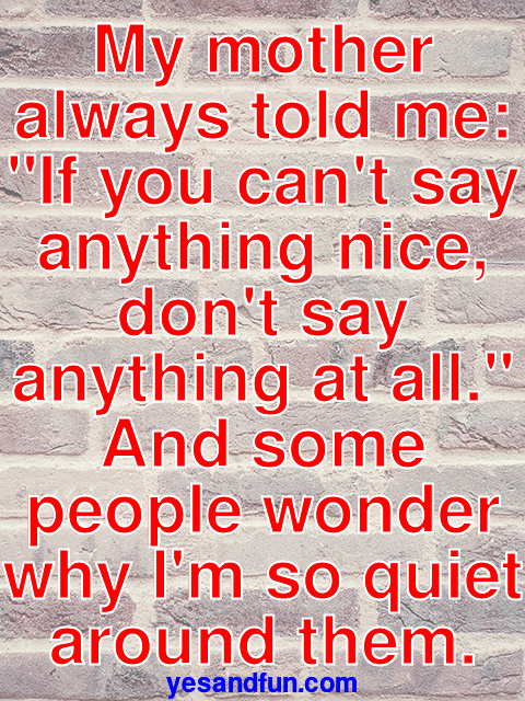 My mother always told me: If you cant say anything nice, dont say anything at all. And some people wonder why Im so quiet around them.