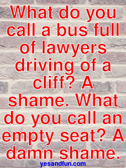 What do you call a bus full of lawyers driving of a cliff? A shame. What do you call an empty seat? A damn shame.